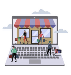 online store technology flat vector image