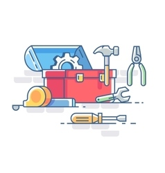 Open box with tools vector