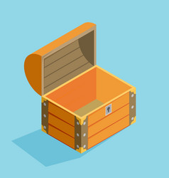Open treasure chest isolated flat isomertic design vector