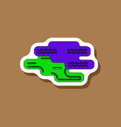 Paper sticker on stylish background golf hole vector