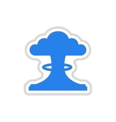 Paper sticker on white background nuclear vector