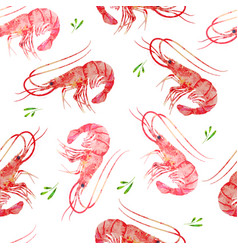 Pattern seamless prawns watercolor vector