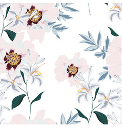 pattern with pink peony flowers and lilies vector image
