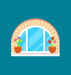 residential window with flower on windowsill vector image