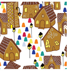 Seamless background gingerbread village vector