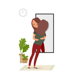 self-acceptance woman hugging with her reflection vector image