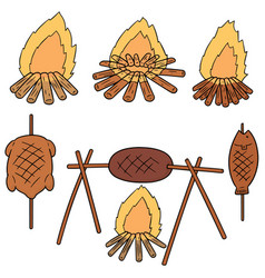 Set of bonfire and grilled food vector