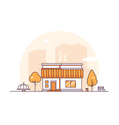 Small shop - modern thin line design style vector