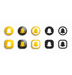 snapchat modern 3d and flat icons set vector image