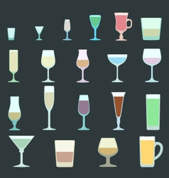 solid colors alcohol glasses set vector image