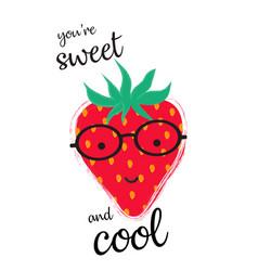 Strawberry in glasses vector