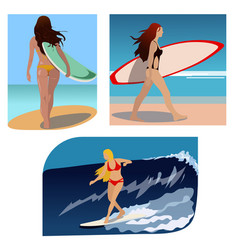 surfer girls summer sport ocean beach sea vector image