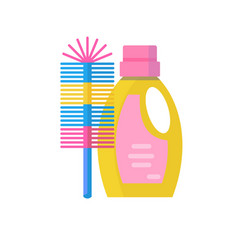 toilet brush and cleaning products in plastic vector image