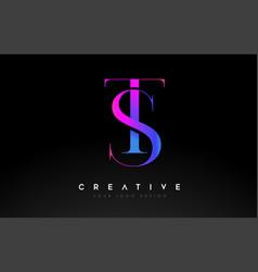 Ts st letter design logo logotype icon concept vector