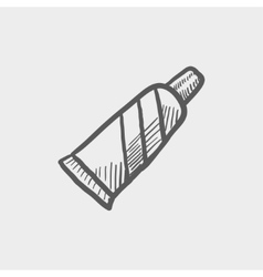 Tube of toothpaste sketch icon vector image