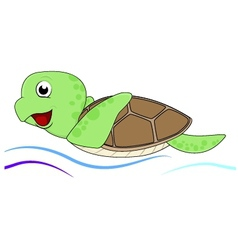 turtle with water waves vector image