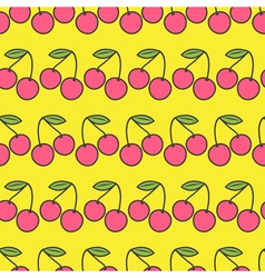Two pink cherries with green leaf Seamless Pattern vector