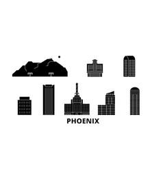 United states phoenix flat travel skyline set vector