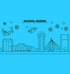United states wichita winter holidays skyline vector