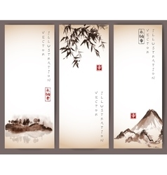 Vintage banners with bamboo mountains and island vector