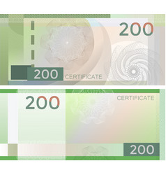 voucher template banknote 200 with guilloche vector image