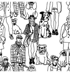 Walking people and dogs seamless pattern vector image