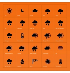 Weather icons on orange background vector image