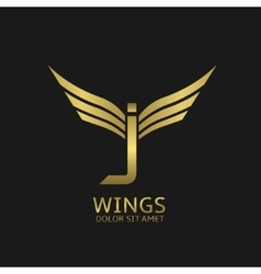 Wings J letter logo vector