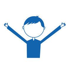 Young man with hands up avatar character vector