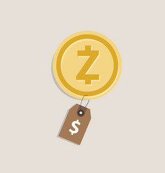 zcash coin price value of crypto-currency in vector image