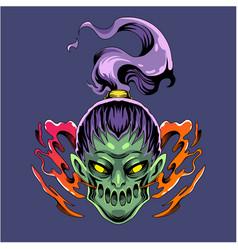 zombie girl head mascot logo vector image