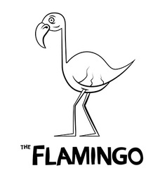 Flamingo Outline Cartoon - vector image