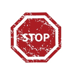 Red grunge stop logo vector image vector image