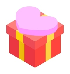 A red gift box isometric 3d icon vector image
