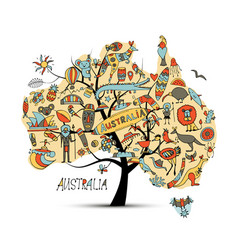 Australian map tree with icons set sketch vector