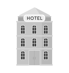 Hotel building icon in monochrome style isolated vector image vector image