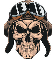 skull in helmet pilot vector image