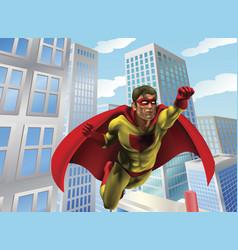superhero flying through city vector image vector image