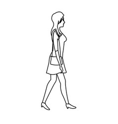 woman walking with dress and purse bag outline vector image