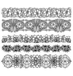 brush border set with flower design vector image