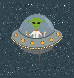 cartoon alien in flying saucer vector image