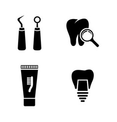 dental simple related icons vector image vector image