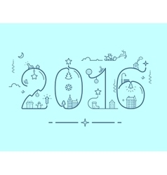 Inscription of New Year 2016 with decoration vector image vector image