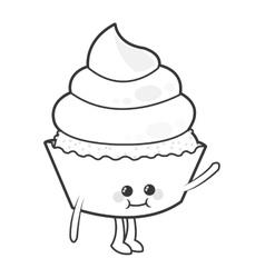 Kawaii cupcake cute cake icon vector