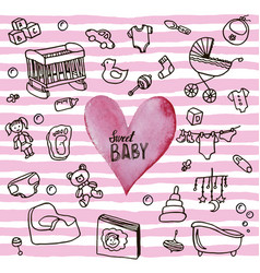 newborn infant themed cute doodle set baby card vector image