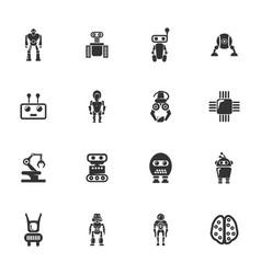robot icons set vector image