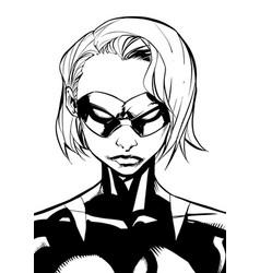 superheroine portrait masked line art vector image vector image