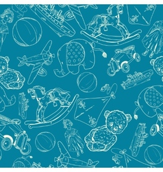 Toys sketch blue seamless pattern vector image
