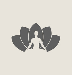woman and lotus flower silhouettes vector image