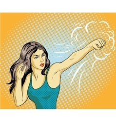 Young beautiful business woman punching and boxing vector image